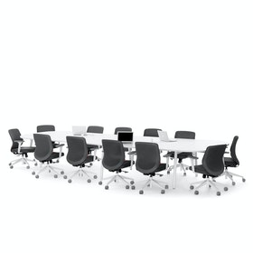 "Series A Scale Racetrack Conference Table, White, 180x60"", White Legs"