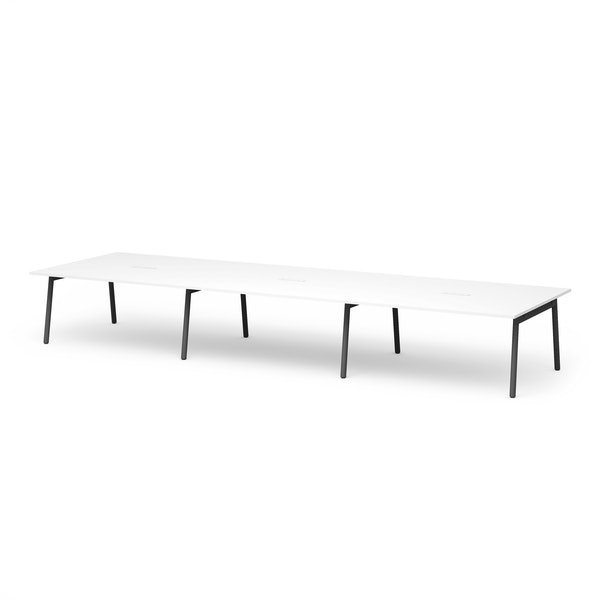 "Series A Scale Rectangular Conference Table, White, 198x60"", Charcoal Legs,White,hi-res"