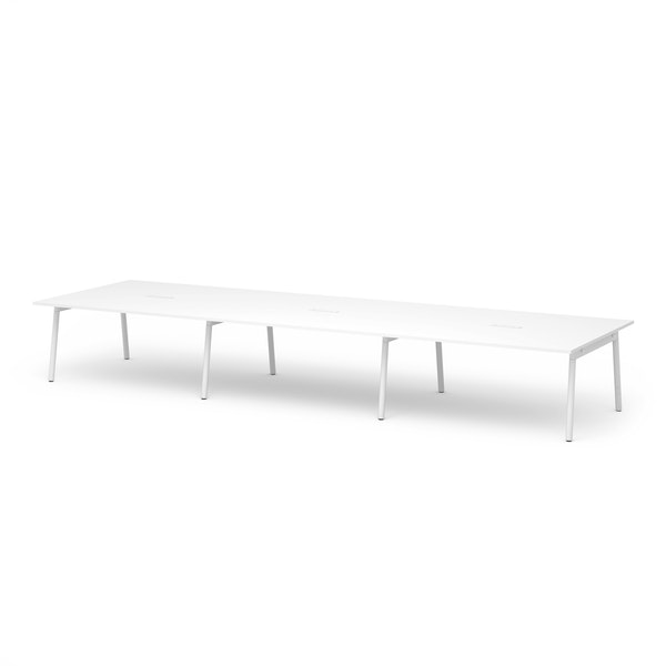 """Series A Scale Rectangular Conference Table, White, 198x60"""", White Legs,White,hi-res"""