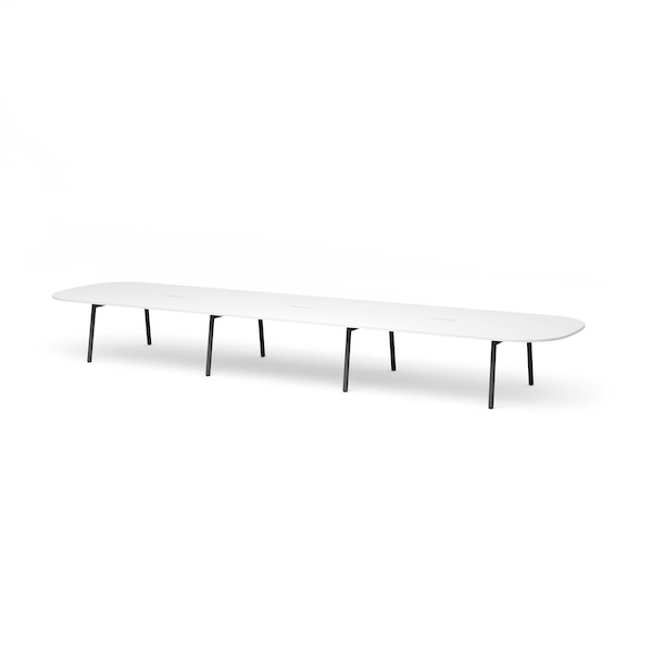 "Series A Scale Racetrack Conference Table, White, 246x60"", Charcoal Legs,White,hi-res"