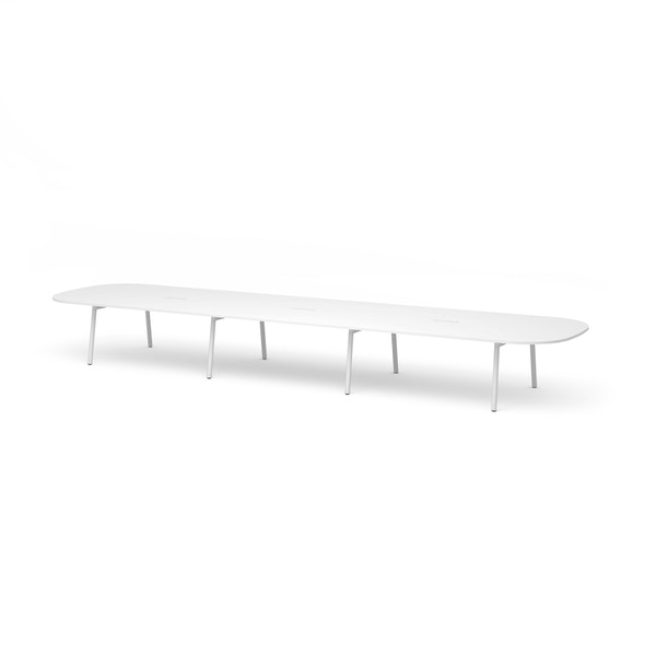 """Series A Scale Racetrack Conference Table, White, 246x60"""", White Legs,White,hi-res"""