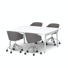 "Series A Scale Rectangular Conference Table, White, 66x60"", White Legs"