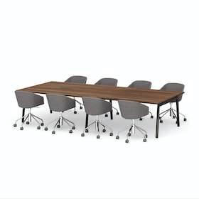 "Series A Scale Rectangular Conference Table, Walnut, 132x60"", Charcoal Legs"