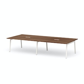 "Series A Scale Rectangular Conference Table, Walnut, 132x60"", White Legs"