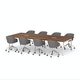 """Series A Scale Rectangular Conference Table, Walnut, 132x60"""", White Legs,Walnut,hi-res"""