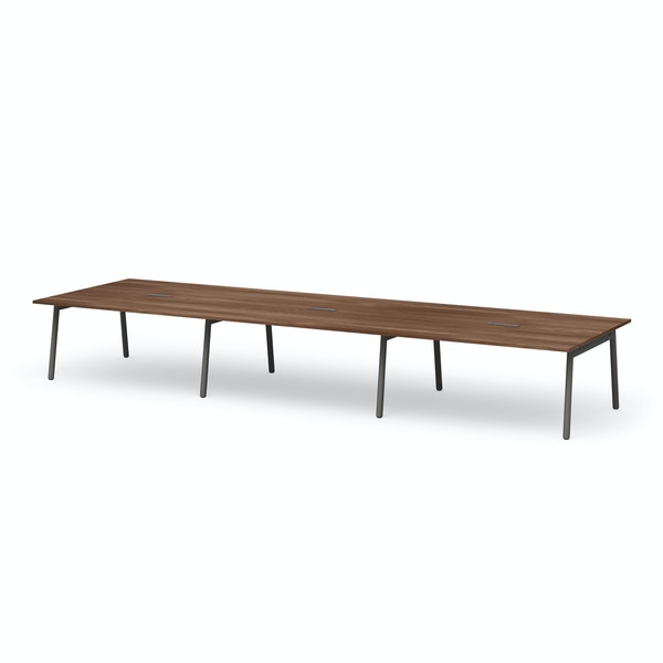 "Series A Scale Rectangular Conference Table, Walnut, 198x60"", Charcoal Legs,Walnut,hi-res"