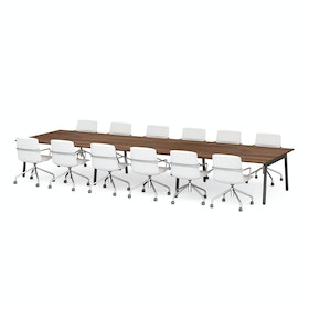 "Series A Scale Rectangular Conference Table, Walnut, 198x60"", Charcoal Legs"