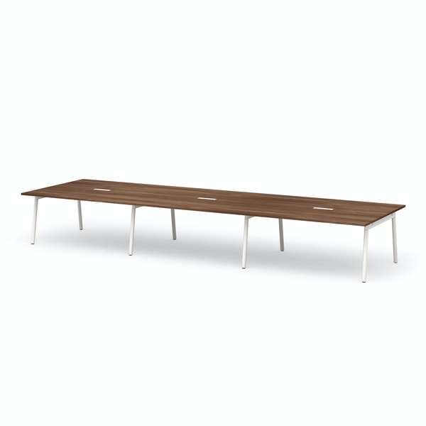 "Series A Scale Rectangular Conference Table, Walnut, 198x60"", White Legs,Walnut,hi-res"