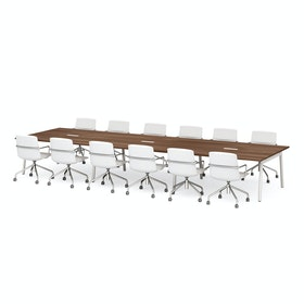 "Series A Scale Rectangular Conference Table, Walnut, 198x60"", White Legs"