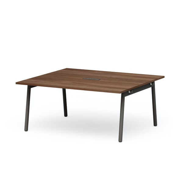 """Series A Scale Rectangular Conference Table, Walnut, 66x60"""", Charcoal Legs,Walnut,hi-res"""