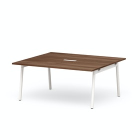 "Series A Scale Rectangular Conference Table, Walnut, 66x60"", White Legs"