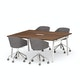 "Series A Scale Rectangular Conference Table, Walnut, 66x60"", White Legs,Walnut,hi-res"