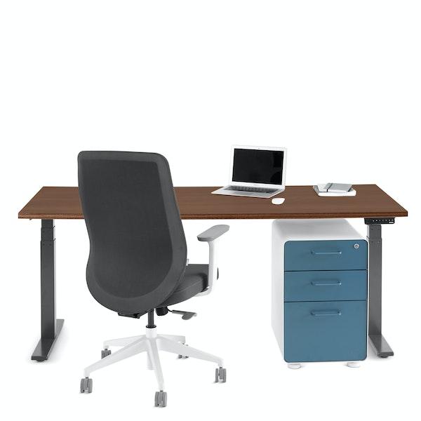 """Series L Adjustable Height Single Desk, Walnut, 72"""", Charcoal Legs,Walnut,hi-res"""