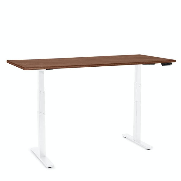 "Series L Adjustable Height Table, Walnut, 72"" x 30"", White Legs,Walnut,hi-res"