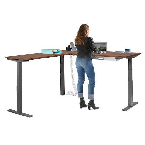 Series L Adjustable Height Corner Desk, Walnut with Charcoal Base, Left Handed,Walnut,hi-res