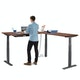 Series L  Adjustable Height Corner Desk, Walnut with Charcoal Base, Right Handed,Walnut,hi-res