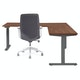 Series L  Adjustable Height Corner Desk, Walnut with Charcoal Base, Right Handed,Walnut,hi-res