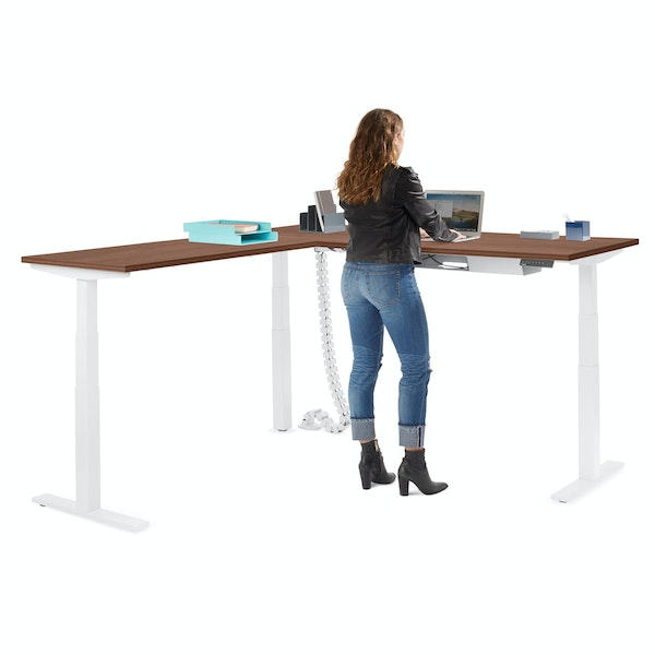 Series L  Adjustable Height Corner Desk, Walnut with White Base, Left Handed,Walnut,hi-res