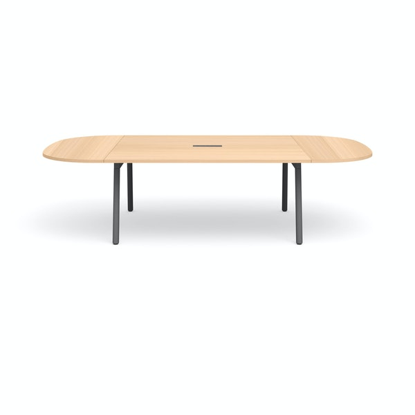 "Series A Scale Racetrack Conference Table, Natural Oak 114x60"", Charcoal Legs,Natural Oak,hi-res"