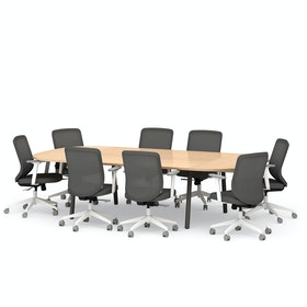Series A Scale Racetrack Conference Table, Charcoal Legs