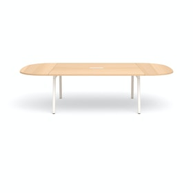 "Series A Scale Racetrack Conference Table, Natural Oak 114x60"", White Legs"