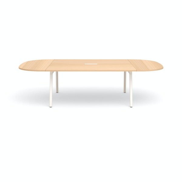 "Series A Scale Racetrack Conference Table, Natural Oak 114x60"", White Legs,Natural Oak,hi-res"
