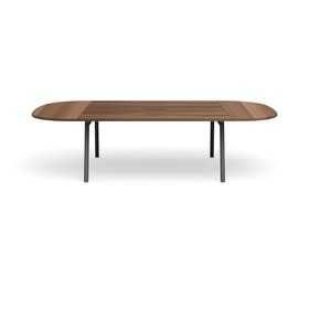 "Series A Scale Racetrack Conference Table, Walnut, 114x60"", Charcoal Legs"