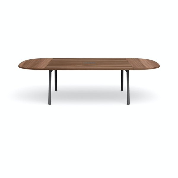 "Series A Scale Racetrack Conference Table, Walnut, 114x60"", Charcoal Legs,Walnut,hi-res"