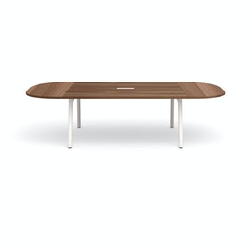 "Series A Scale Racetrack Conference Table, Walnut, 114x60"", White Legs"
