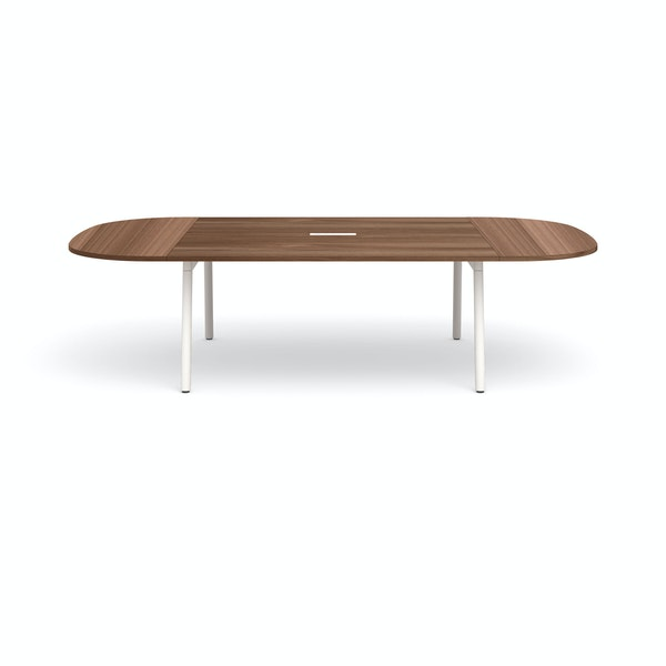 "Series A Scale Racetrack Conference Table, Walnut, 114x60"", White Legs,Walnut,hi-res"
