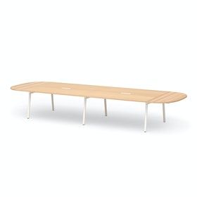 "Series A Scale Racetrack Conference Table, Natural Oak 180x60"", White Legs"