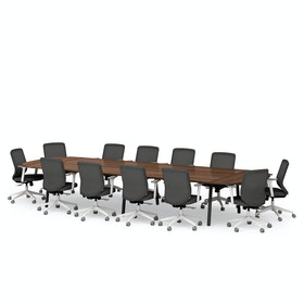 "Series A Scale Racetrack Conference Table, Walnut, 180x60"", Charcoal Legs"