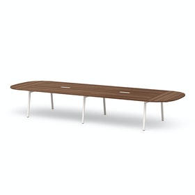 "Series A Scale Racetrack Conference Table, Walnut, 180x60"", White Legs"