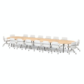 "Series A Scale Racetrack Conference Table, Natural Oak 246x60"", Charcoal Legs"