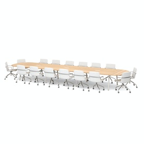 "Series A Scale Racetrack Conference Table, Natural Oak 246x60"", White Legs"