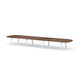 "Series A Scale Racetrack Conference Table, Walnut, 246x60"", White Legs"