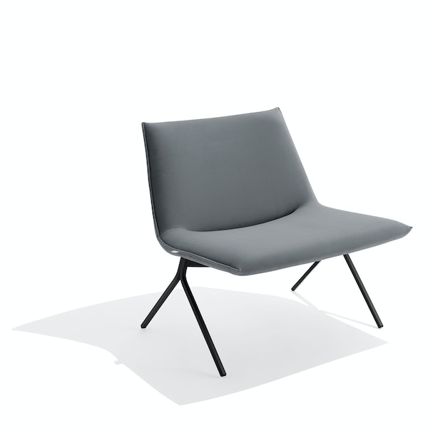 Dark Gray + Black Velvet Meredith Lounge Chair,Dark Gray,hi-res