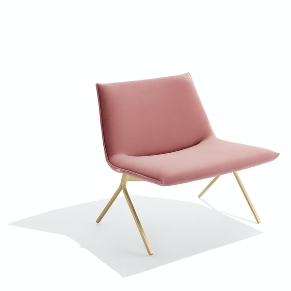 Dusty Rose + Brass Velvet Meredith Lounge Chair,Dusty Rose,hi-res