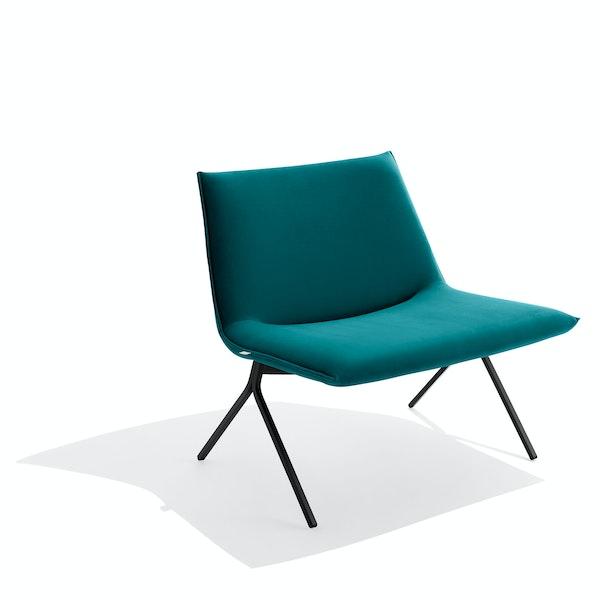 Teal + Black Velvet Meredith Lounge Chair,Teal,hi-res