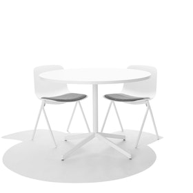 White Key Side Chair, Set of 2, with Gray Seat Pad