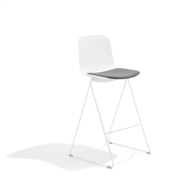White Key Stool, Set of 2, with Gray Seat Pad