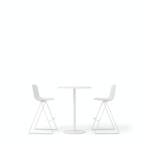 White Key Stools + Tucker Standing Table Set,White,hi-res