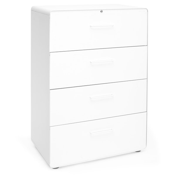 White Stow 4-Drawer Lateral File Cabinet,White,hi-res