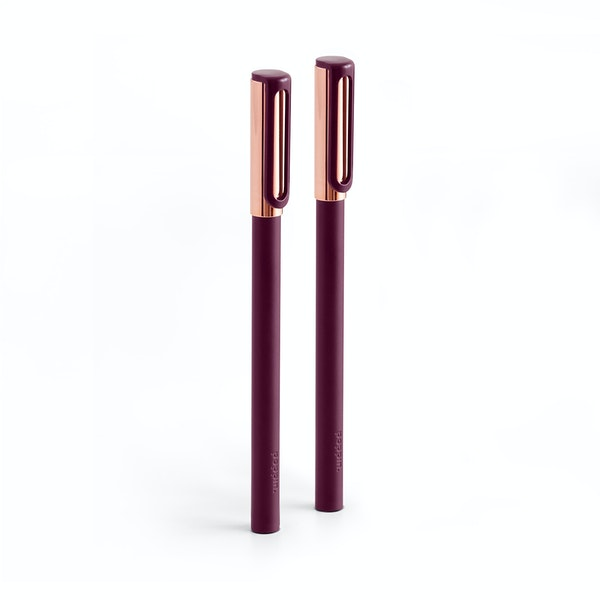 Wine + Copper Tip-Top Rollerball Pens w/ Black Ink, Set of 2,Wine,hi-res