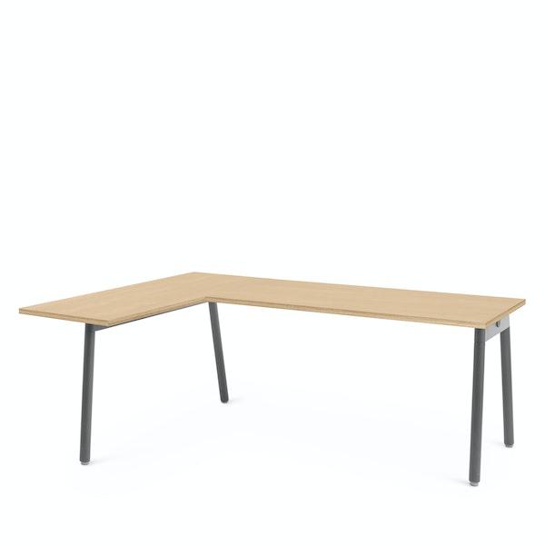 Series A Corner Desk, Natural Oak with Charcoal Base, Left Handed,Natural Oak,hi-res