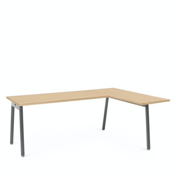 Series A Corner Desk, Natural Oak with Charcoal Base, Right Handed,Natural Oak,hi-res