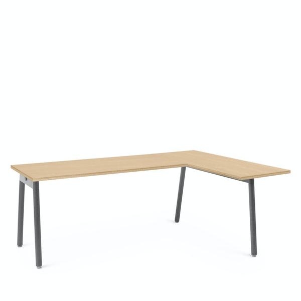 Series A Corner Desk, Natural Oak with Charcoal Base, Right Handed,Natural Oak,hi-res