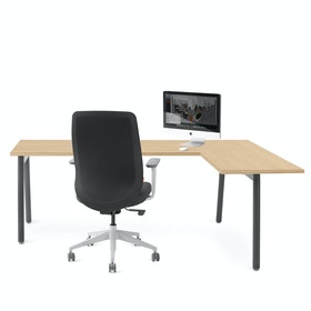 Series A Corner Desk, Natural Oak with Charcoal Base, Right Handed