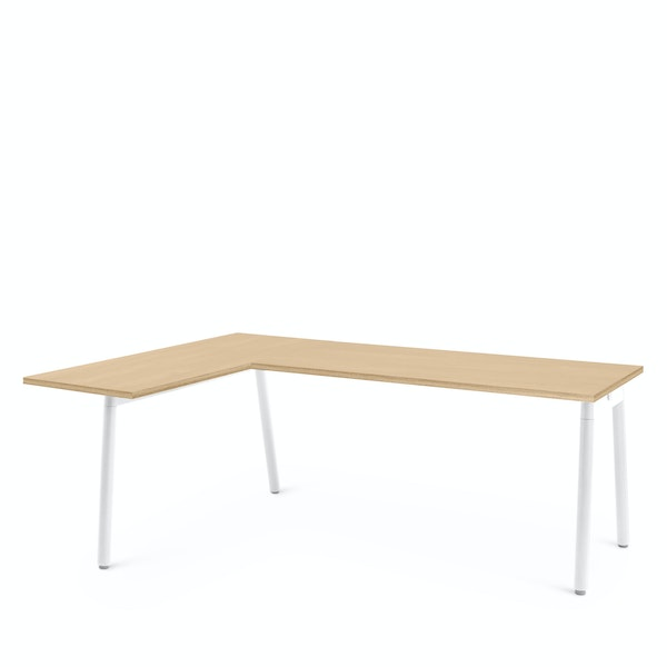 Series A Corner Desk, Natural Oak with White Base, Left Handed,Natural Oak,hi-res