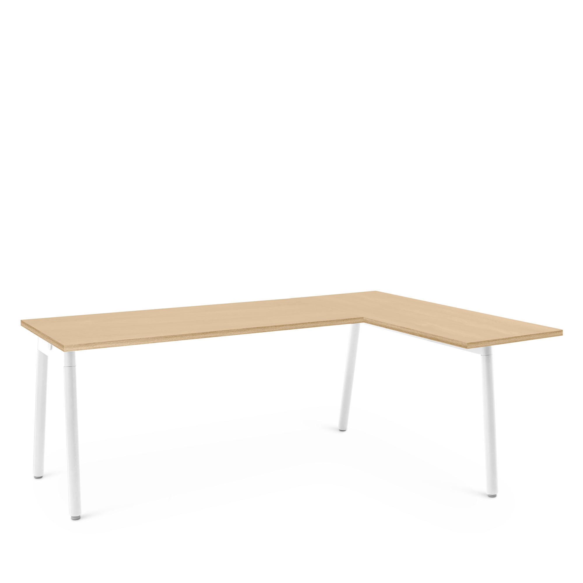 Series A Corner Desk Natural Oak With White Base Right Handed Poppin